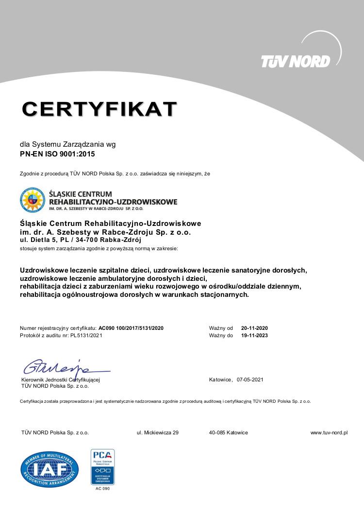 Certyfikat (PN-EN ISO 9001:2015 - PCA)