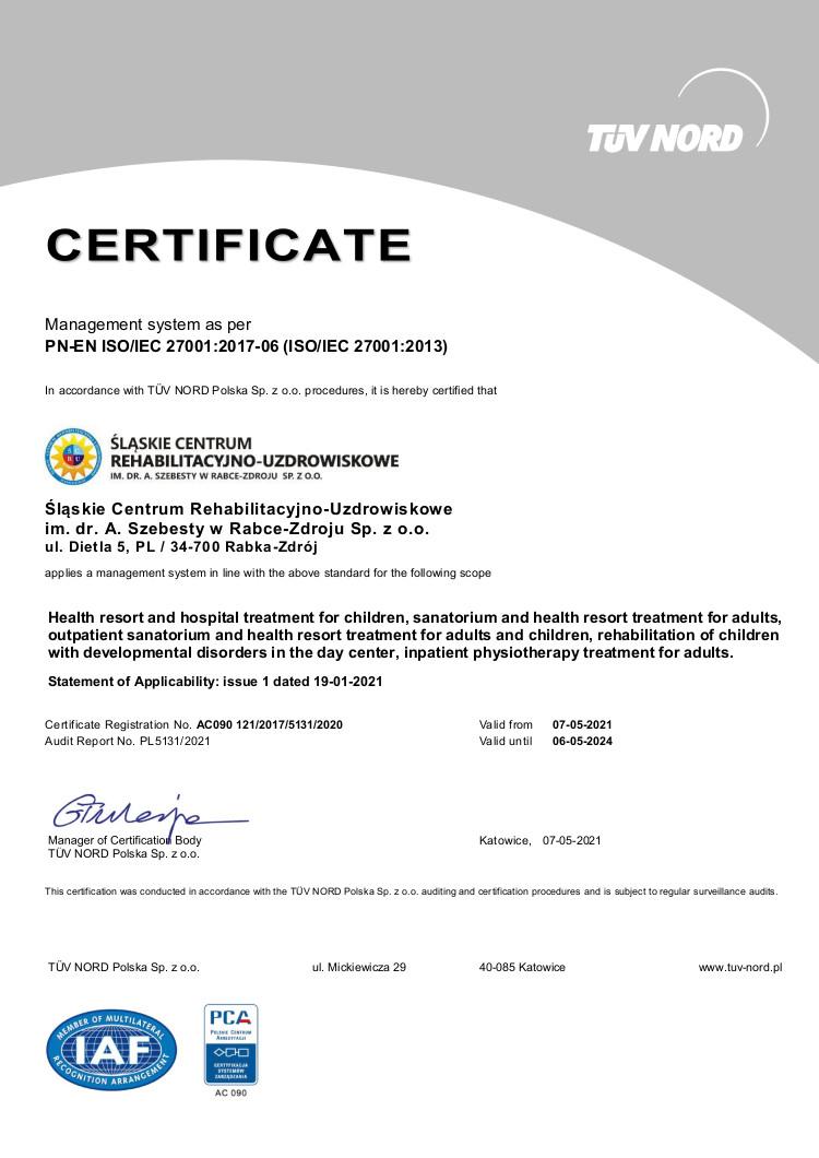 Certyfikat (PN-EN ISO/IEC 27001:2017 - PCA)